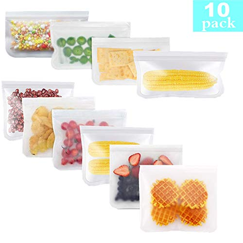 10 reusable food storage bags - super thick impermeable freezer bags reusable storage bags and reusable lunch bags, reusable snack bags 6 sandwich bags +4 snack bags