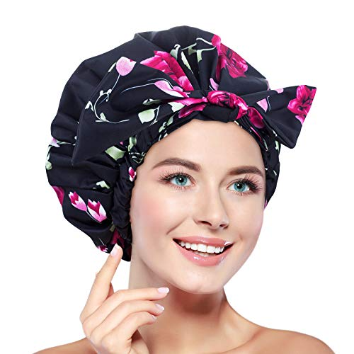 Shower Cap for Women, Waterproof Reusable Shower Caps Large for Long Hair, Adjustable for Most Heads Size (3)
