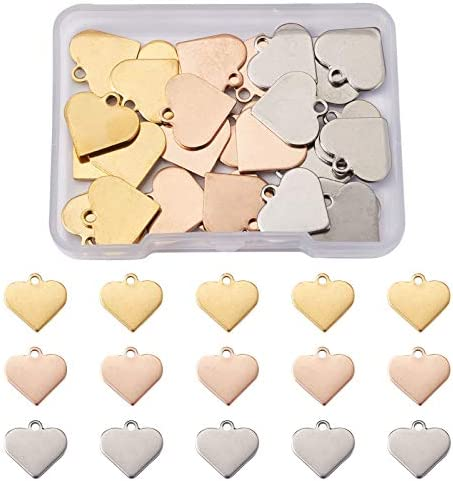 Beadthoven 40pcs Stainless Steel Heart Charms Mixed Polished Metal Heart Blank Stamping Tag product image
