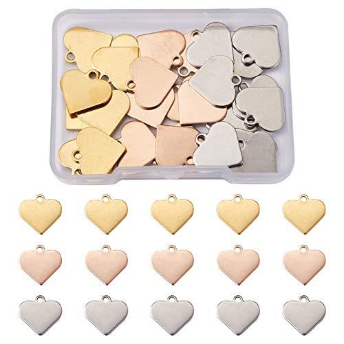 Beadthoven 40 pingentes de coração de aço inoxidável misturados de metal polido coração branco pingente de etiqueta acessórios de dia dos namorados para colar pulseiras pingentes presentes