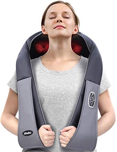 Schulter Massagegerät Nackenmassagegerät, Ohuhu Massagegerät Elektrisch für Nacken Rücken Shiatsu Nackenmassagegerät mit Wärmefunktion 3D-Rotation Massage Einstellbaren Geschwindigkeiten, EU Stecker