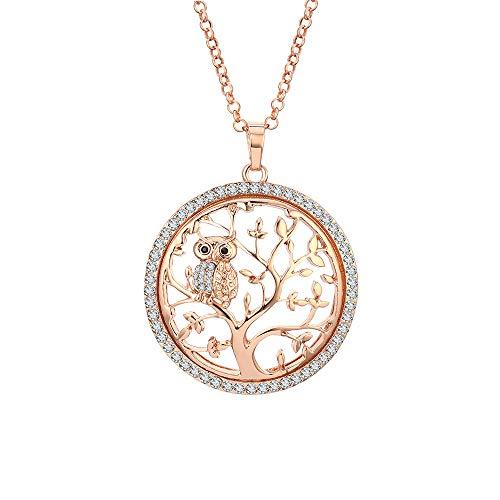 Fashion Halskette für Frauen, Baum des Lebens mit Eule Anhänger Halskette Mädchen CZ Kristall Halskette Lange Halskette Glänzende Strass Halskette (Roségold)