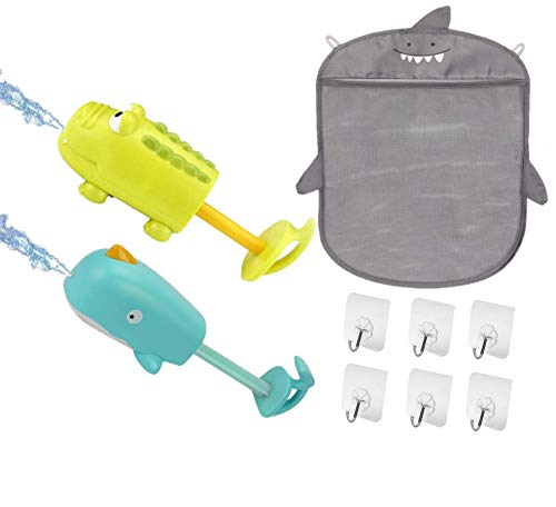 VidiGi Baby Bath Shark Toy Organizer | 2 Toys Squirt - Shooters Water Gun (Whale and Crocodile) | 6 Adhesive Strong Hooks (5kg weight) | Kids Summer Toys for Beach Swimming Pool | Organizer for tub