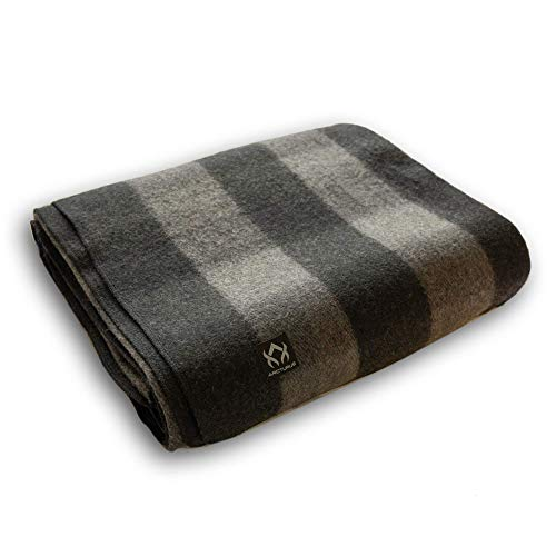 Arcturus Backwoods Wool Blanket - 4.5lbs, Warm, Heavy, Washable, Large | Great for Camping, Outdoors, Survival & Emergency Kits (Gray Buffalo)