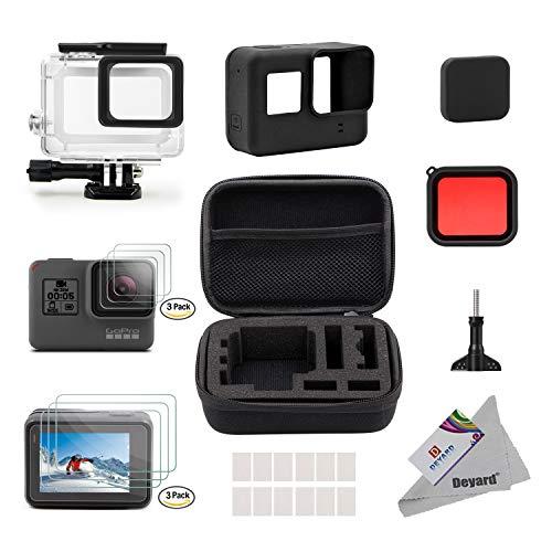 Deyard Kit de Accesorios para GoPro Hero 7 (Sólo negro) Hero (2018), GoPro Hero 6 y Hero 5 Action Camera, 25 artículos en 1, con Carcasa pequeña a Prueba de Golpes