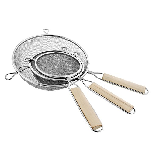 U.S. Kitchen Supply - Set of 3 Premium Quality-Double Mesh Extra Fine Stainless Steel Strainers with Comfortable Wooden Handles, 4', 5.5' and 8' Sizes