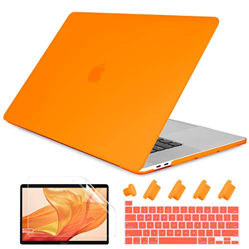 Dongke MacBook Pro 13 2020 Case Model A2251/A2289, Plastic Smooth Frosted Hard Shell Cover Case for MacBook Pro 13 inch with Retina Display and Touch Bar Fits Touch ID, Orange