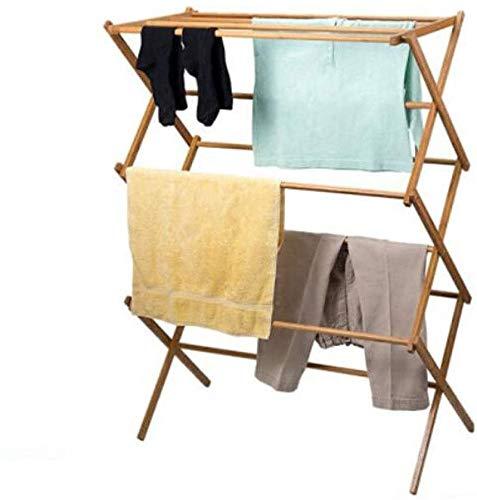 Lloow Tendedero, Piso Plegable De Bambú, Madera Maciza, Balcón, Interior, Tipo X, Telescópico, Toallero, Tendedero, Trompeta Coat Racks 2020