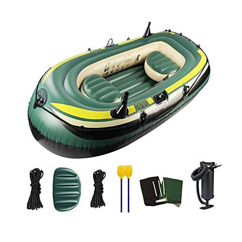 HT&PJ Kayak, kayak inflable, kayak sentado con remo y 2 asientos, puede tomar 3 personas, carga máxima de 250 kg, se utiliza para deportes acuáticos, pesca y actividades de padres e hijos
