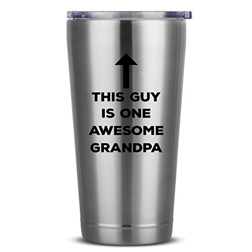 This Guy Is One Awesome Grandpa | 16 oz Polished Insulated Stainless Steel Tumbler w/Lid Mug | Grandfather Birthday Fathers Day Christmas Gift Ideas from Grandkids Granddaughter Grandson Grandchild