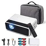 eSynic Proyector Portátil 1080P Proyector Cine en Casa LCD con Bolsa de Transporte, Cable HDMI, Gafas 3D de Rojos y Azul, Pantalla de Proyección Simple 16:9 de 100 Pulgadas, Admite HDMI/VGA/USB/SD/AV