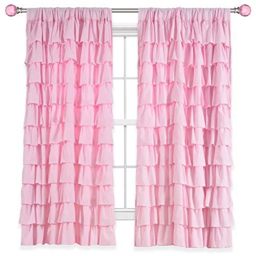 Kotile - Cortinas horizontales con dobladillo para barra de cortina para habitación de niñas, con panel de capa de volantes, cortina...