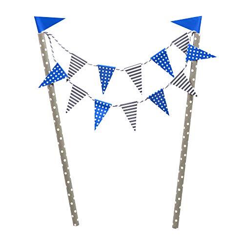 Frau WUNDERVoll® KUCHENGIRLANDE BLAU/Topper, Kuchenstecker, Muffin, Geburtstagskuchen, Dekoration, Deko, Kinder, Party, Hochzeit, Hochzeitstorte, Geburtstag