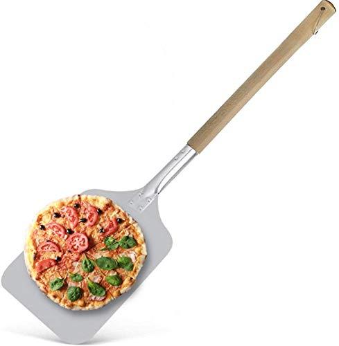 Pala de Aluminio para Pizza   Rectangular 30x30cm   Gran Superficie   Mango de Madera   83cm   Con Gancho para Colgar