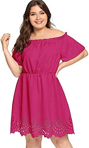 Romwe Women's Plus Size Off The Shoulder Hollowed Out Scallop Hem Party Short Dresses Hot Pink 3X Plus