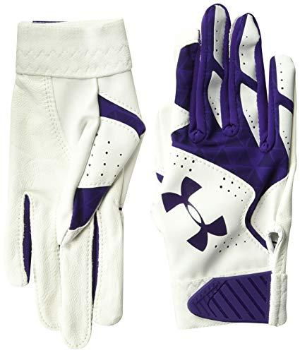 Under Armour Girls' Radar Baseball Glove, White (105)/Purple, Youth M