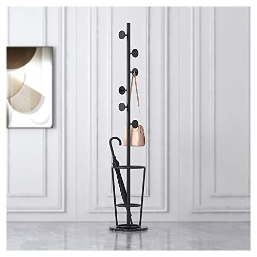 OFFA Perchero de 70 pulgadas independiente con soporte para paraguas, perchero de metal con 6 ganchos para entrada, pasillo para sombreros, ropa, bufanda, abrigo, base redonda de mármol (color: negro)