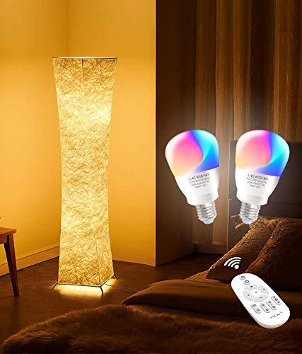 lvyuan Lámpara de Pie Moderna Bombilla LED RGB incluida para la Decoración de la Sala de Estar 26x26x132cm Europäischer Netzstecker (132*26CM+LED RGB Bulbs)