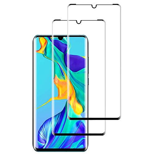 OUJD [2 Piezas] Protector de Pantalla para Huawei P30 Pro, Transparente HD Film Cristal Templado Protector de Pantalla, 9H Dureza Sin Burbujas Anti-Arañazos - Negro