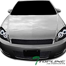 Topline Autopart Black Mesh Front Upper Hood Grill + Lower Bumper Grille ABS For 06-13 Chevy Impala / 14-16 Impala Limited