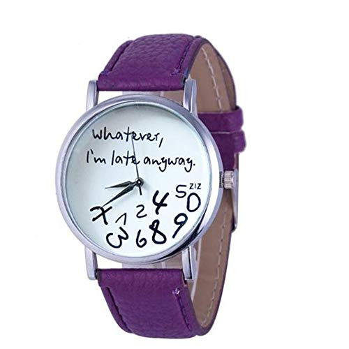 KUDICO Watches Womens Fashion Letter Watches'Whatever I am Late Anyway'Letter Print Watches for Teenage Girl(Purple)