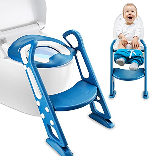 Potty Training Seat Toddler Toilet Seat with Step Stool Ladder for Boys and Girls Potty Training Chair with 3PCS Disposable Toilet Seat Covers and Anti-Slip Pads Ladder (Blue)