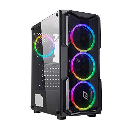 Noua Smash S8 Black Case ATX per PC Gaming 0.50MM SPCC 3*USB3.0/2.0 con 4 Ventole Dual Halo 40 LED Rosso Pannello Laterale in Vetro Temperato (AxPxL: 415x390x190 mm)