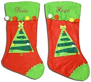 Calcetín de navidad familiar para niños, adultos, mascotas, etc. Calcetín navideño personalizado con el nombre, hecho de fieltro. Medida 44cm. Bota para navidad bordada con el nombre