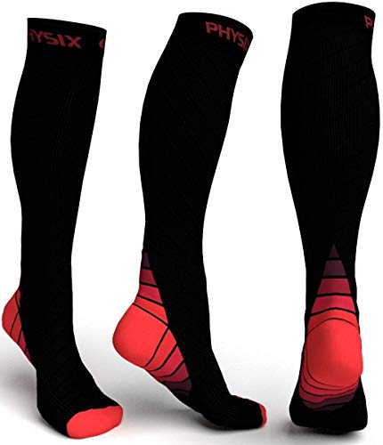 Physix Gear Compression Socks for Men & Women 20-30 mmhg, Best Graduated Athletic Fit for Running Nurses Shin Splints Flight Travel & Maternity Pregnancy - Boost Stamina Circulation & Recovery RED S/M