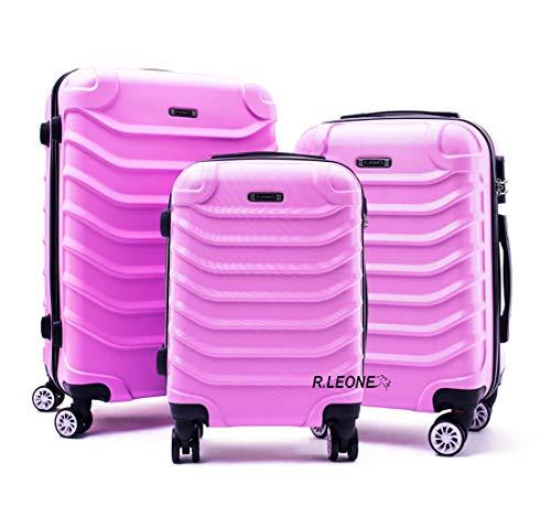 R.Leone Valigia da 1 Fino a Set 4 Trolley Rigido grande, medio, bagaglio a mano e beauty case 8 ruote in ABS 2026 (Rosa pastello, Set da 3 pezzi)