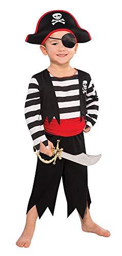 Tante Tina Piratenkostüm Jungen - 5-teiliges Piratenkostüm für Jungen mit Tunika , Hose , Gürtel , Augenklappe und Kopfband - Schwarz / Rot / Weiß - Größe M ( 128 ) - für Kinder von 5 bis 7 Jahren