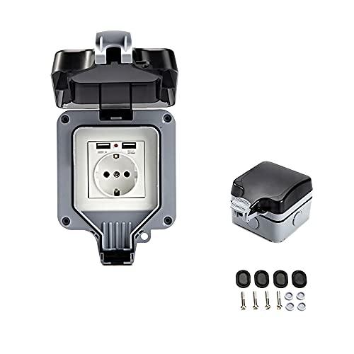 Toma de pared exterior doble con USB impermeable y resistente, toma eléctrica con caja de pared (individual)