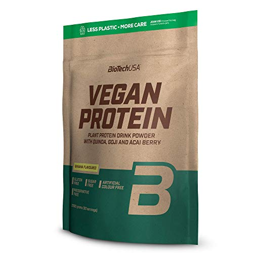 Vegan Protein En polvo con sabor bebida a base de proteína vegetal, con bayas goji y acai en polvo, harina de quínoa, 2 kg, Plátano
