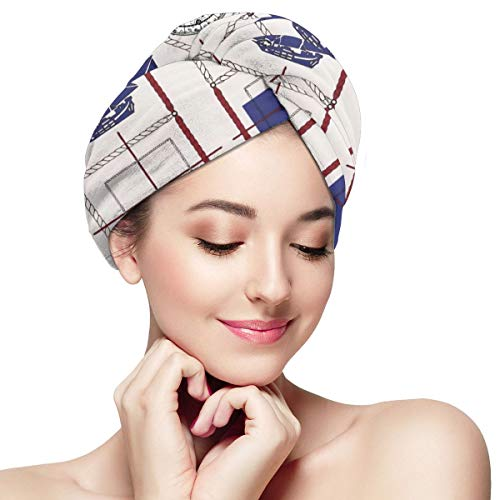 Nautical Sailboat Map Boat Ship Compass Microfiber Hair Towel Wrap for Women Super Absorbent Quick Dry Hair Turban for Drying Curly Spa Towel 11¡± X 2