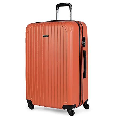 ITACA - Maleta de Viaje Grande XL rígida 4 Ruedas Trolley 76 cm de abs. Dura Extensible y Ligera. Gran Capacidad. Estudiante y Profesional. candado Integrado. t71570, Color Mandarina