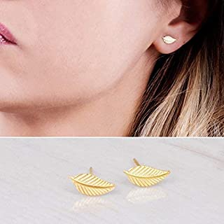 f387f7ad3 Tiny Gold Leaf Stud Earrings - Designer Handmade Small Feather Post Earrings