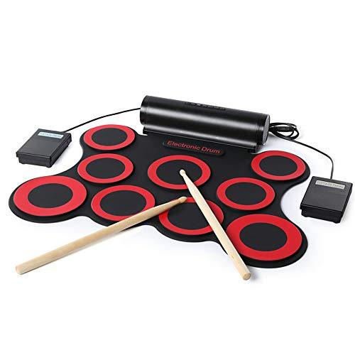 YJF-DZG Juego de batería electrónica de 9 Almohadillas, batería eléctrica con Conector...