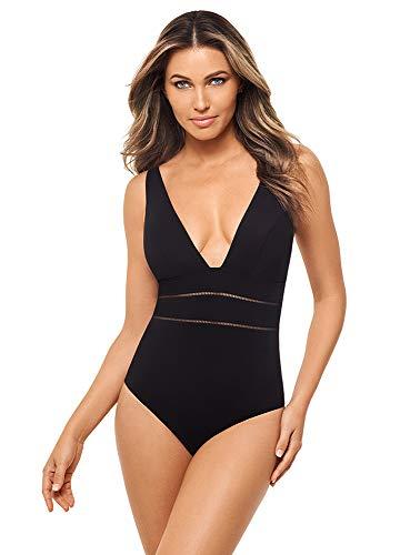 Amoressa Women's Swimwear Bamboo Fury Mailot Plunge Neckline Soft Cups One Piece Swimsuit, Black, 12