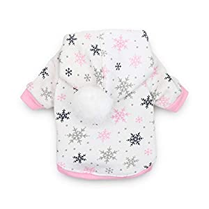 DroolingDog Dog Shirts Winter Fleece Hoodie Puppy Christmas Snowflake T Shirt for Small Dogs, Large