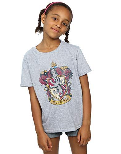 HARRY POTTER niñas Gryffindor Distressed Crest Camiseta 12-13 Years Gris Sport 24