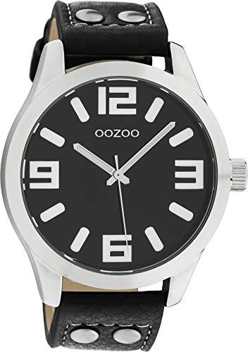 Oozoo Armbanduhr Basic Line mit Lederband 47 MM Schwarz/Schwarz C1054