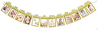 12 Months Photo Frame Banner First Happy Birthday Decorations 1st Baby Boy Girl My 1 One Year Party Supplies