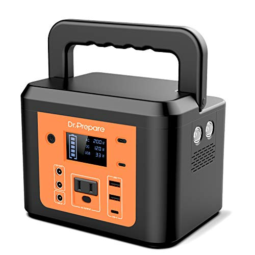 200W Peak Portable Power Station, Dr. Prepare 178Wh 48000mAh Solar Generator Outdoor Battery Backup Supply, CPAP Lithium Battery for Home, Camping with 180W AC Outlet, 2 DC Ports for Emergency House
