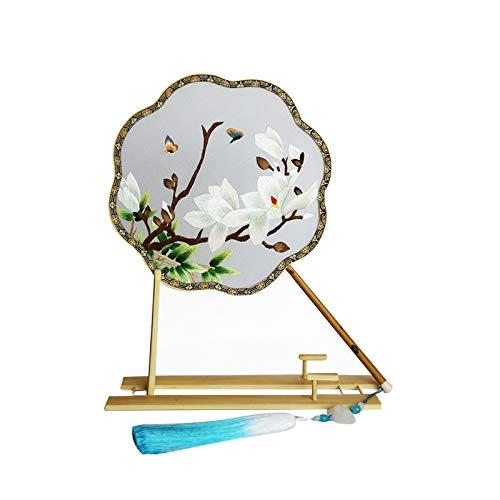 Abanico bordado de doble cara bordado a mano Xiangfei bambú regalo palacio...