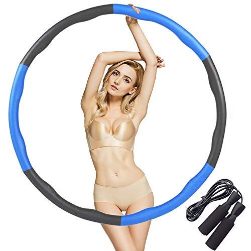 Hula Hoop per adulti corda per saltare Hoola Hoop per esercizi di salto corda per la perdita di peso design staccabile, professionale morbido fitness Hoola Hoop pieghevole regolabile 1,1 kg blu-grigio
