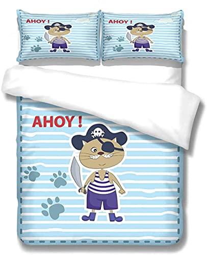 Azul Rayas Gato Pirata Funda Nórdica Cama 150, Juego de Ropa de Cama de Microfibra de Fácil Cuidado, 1 Funda de edredón con Cremallera + 2 Fundas de Almohada 50x80 cm para Infantil Juveniles