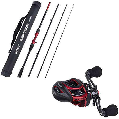Goture Fishing Rod & Reel Combo Bundle|4 PCS Casting Rod and Baitcasting Reel(Left Hand with Dual-Brake)