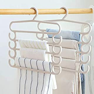 Inditradition 5 Layer Cloth Hanger with Side Grooves, Multipurpose Pant Hanger, Pack of 4 (Multi-Colour)