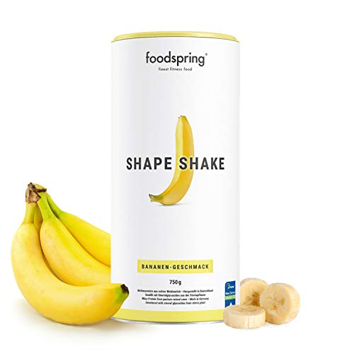 foodspring Shape Shake, Sabor Plátano, 750g, Batido saciante, 100% proteína de suero de leche en polvo, Enriquecido con L-carnitina (quema grasas)