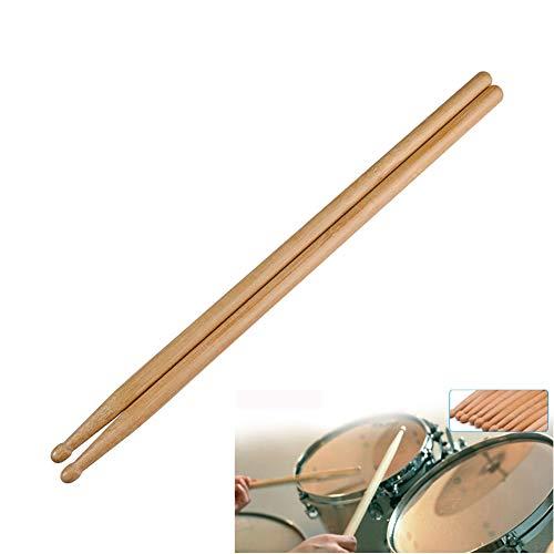 JUNGEN 1Paires Baguettes de batterie Bâton de tambour 5A Drum Sticks Batte Classique Goutte d'eau Tête de marteau Baguettes en bambou pour Jazz Musique Folk 40 * 1.4cm